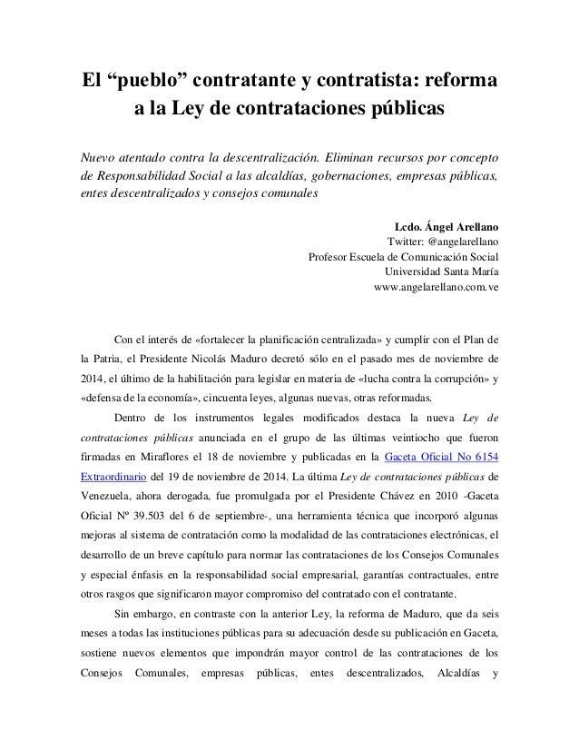 """El """"pueblo"""" contratante y contratista: reforma a la Ley de contrataciones públicas Nuevo atentado contra la descentralizac..."""