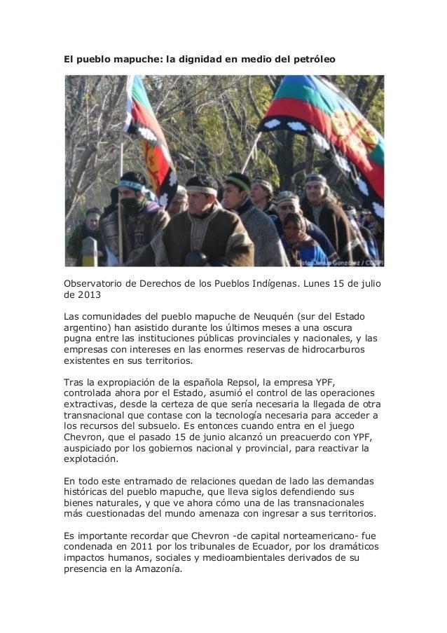 El pueblo mapuche: la dignidad en medio del petróleo Observatorio de Derechos de los Pueblos Indígenas. Lunes 15 de julio ...
