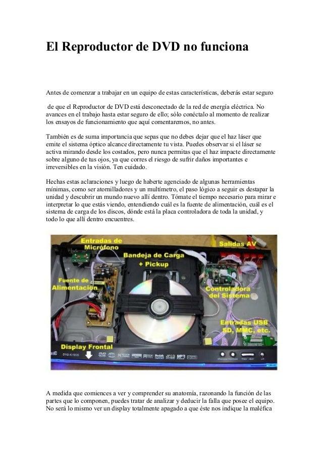 El Reproductor de DVD no funciona Antes de comenzar a trabajar en un equipo de estas características, deberás estar seguro...