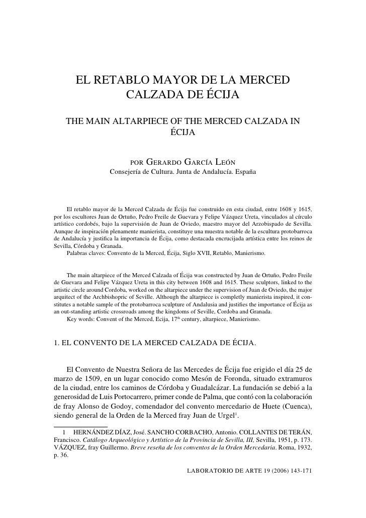 EL RETABLO MAYOR DE LA MERCED                CALZADA DE ÉCIJA     THE MAIN ALTARPIECE OF THE MERCED CALZADA IN            ...