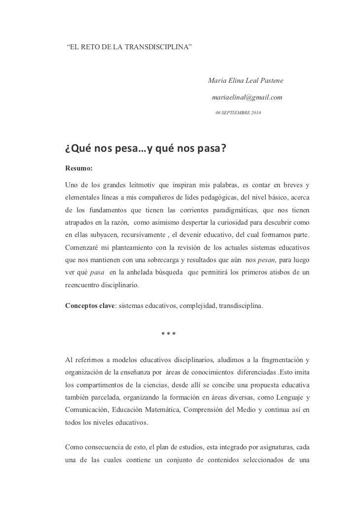 """EL RETO DE LA TRANSDISCIPLINA""                                                 Maria Elina Leal Pastene                  ..."