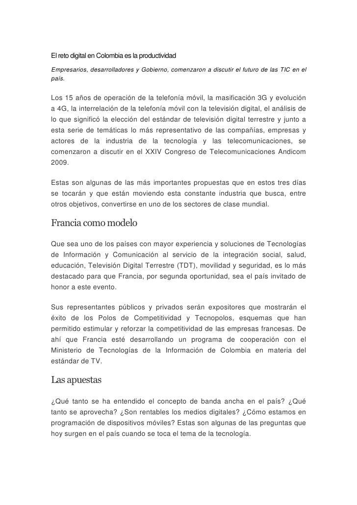 El reto digital en Colombia es la productividad Empresarios, desarrolladores y Gobierno, comenzaron a discutir el futuro d...
