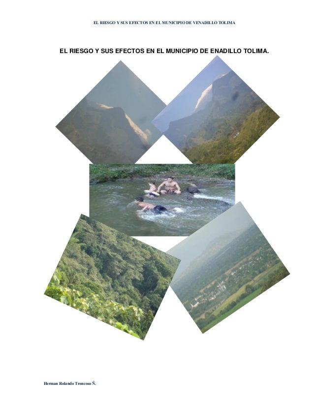 El riesgo y sus efectos en el municipio de enadillo tolima