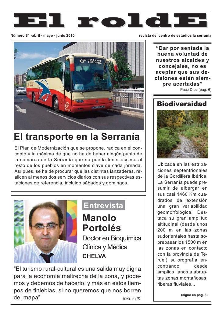 El roldE Número 81 -abril - mayo - junio 2010                         revista del centro de estudios la serranía          ...