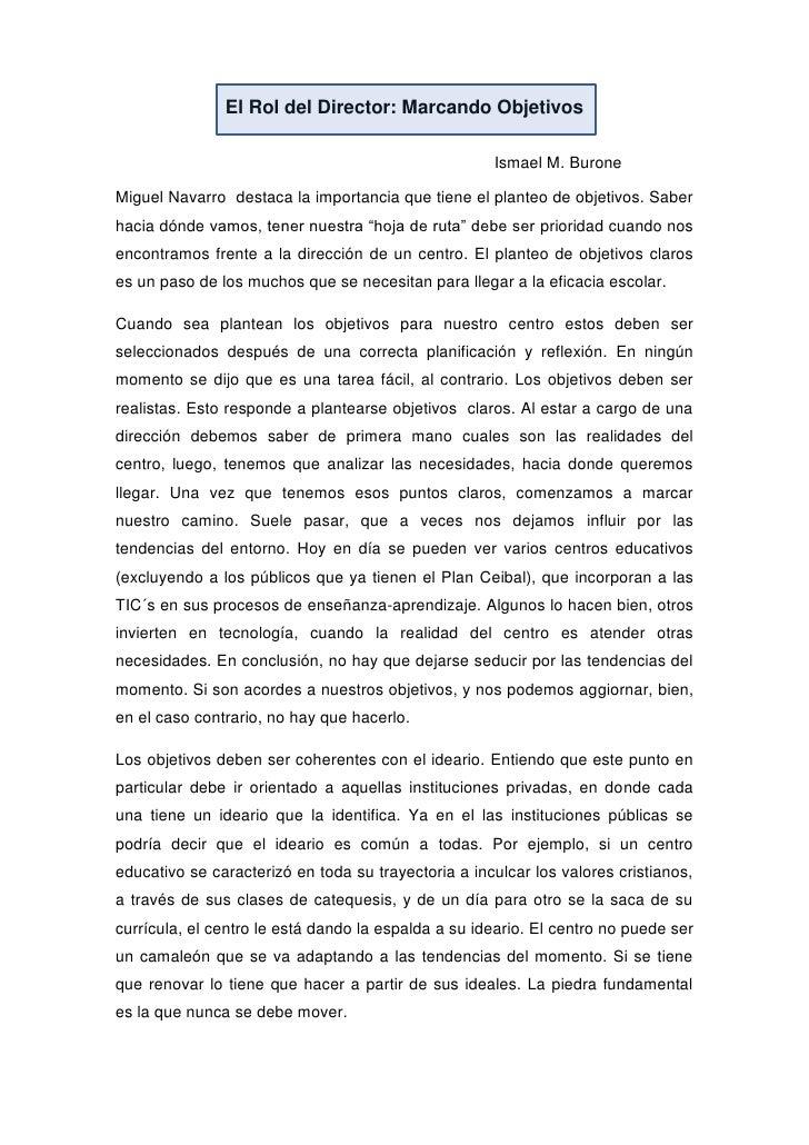 El Rol del Director: Marcando Objetivos                                                     Ismael M. BuroneMiguel Navarro...