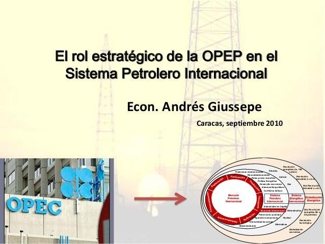 El rol estratégico de la OPEP en el Sistema Petrolero Internacional Econ. Andrés Giussepe Caracas, septiembre 2010 Mercado...