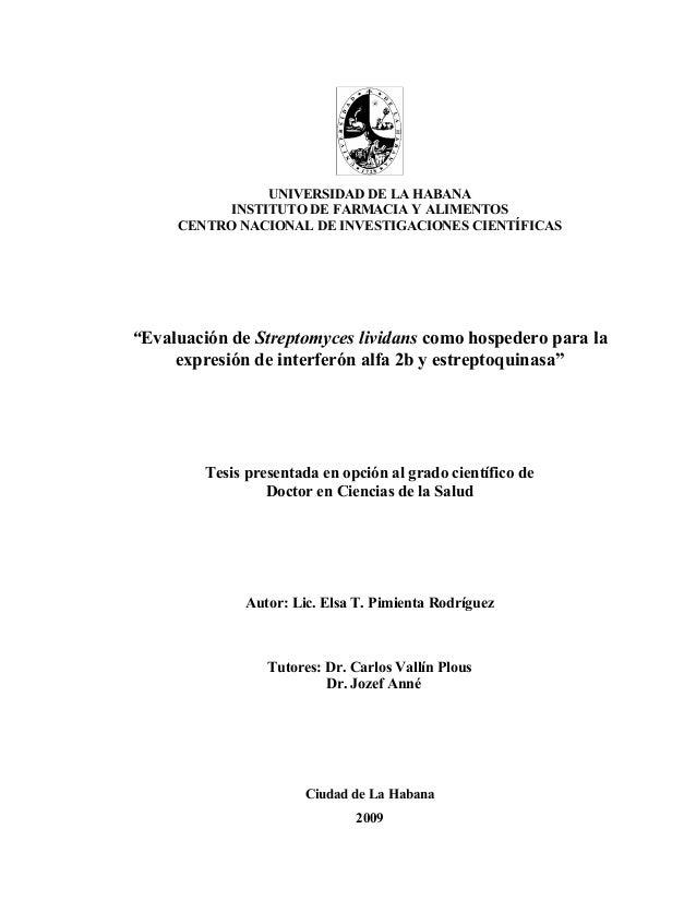 """UNIVERSIDAD DE LA HABANA          INSTITUTO DE FARMACIA Y ALIMENTOS     CENTRO NACIONAL DE INVESTIGACIONES CIENTÍFICAS""""Eva..."""