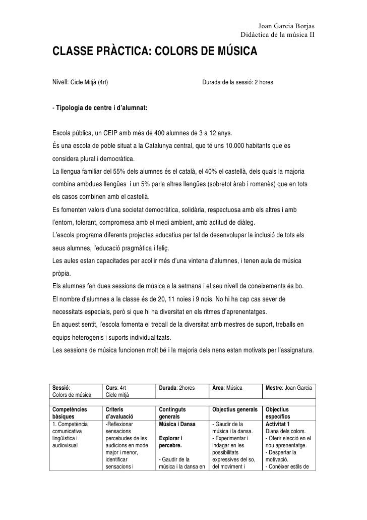 Joan Garcia Borjas                                                                               Didàctica de la música II...