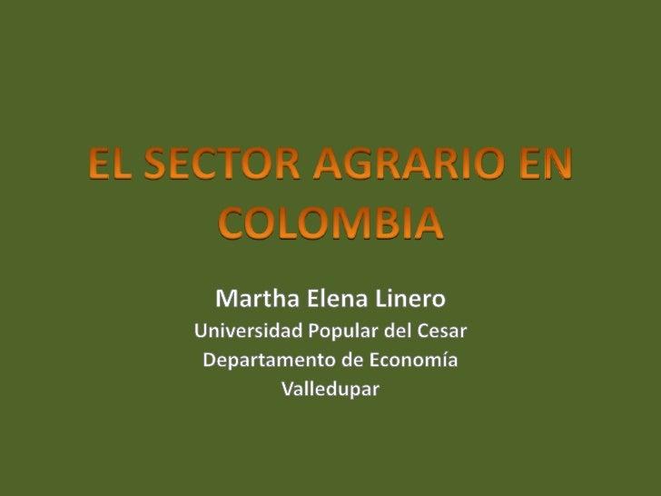 El Sector Agrario En Colombia