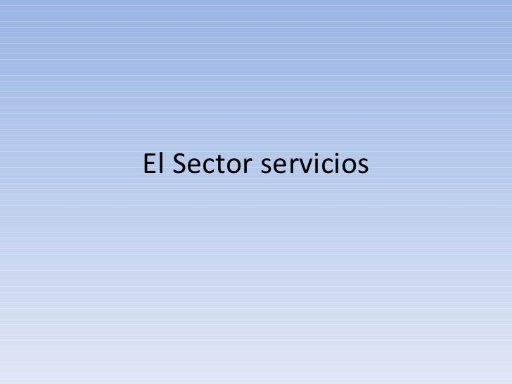 El Sector servicios