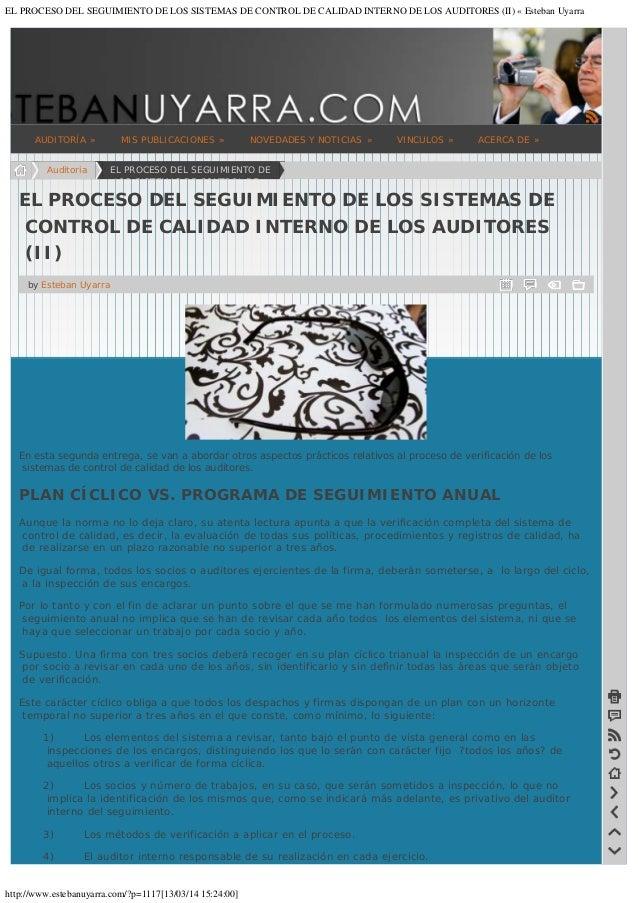 EL PROCESO DEL SEGUIMIENTO DE LOS SISTEMAS DE CONTROL DE CALIDAD INTERNO DE LOS AUDITORES (II) « Esteban Uyarra  AUDITORÍA...