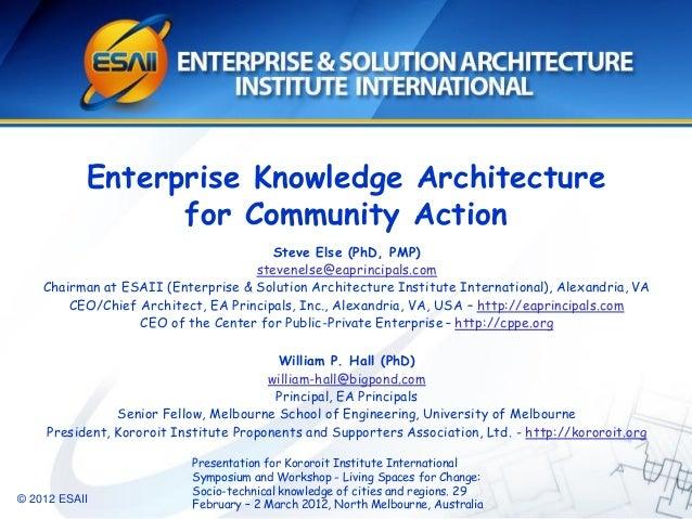 © 2012 ESAIIEnterprise Knowledge Architecturefor Community ActionSteve Else (PhD, PMP)stevenelse@eaprincipals.comChairman ...