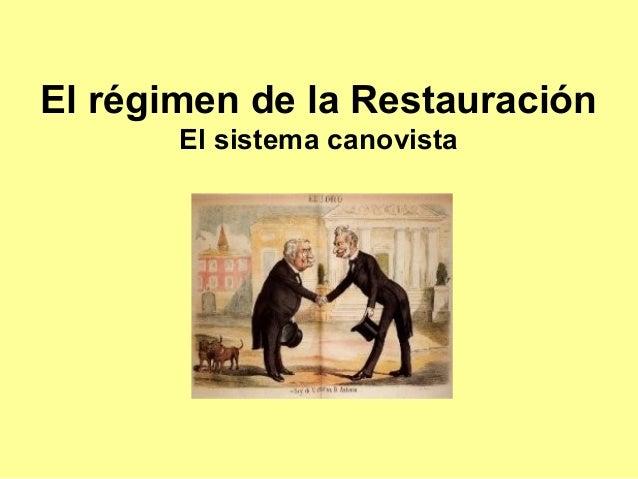 El régimen de la Restauración El sistema canovista