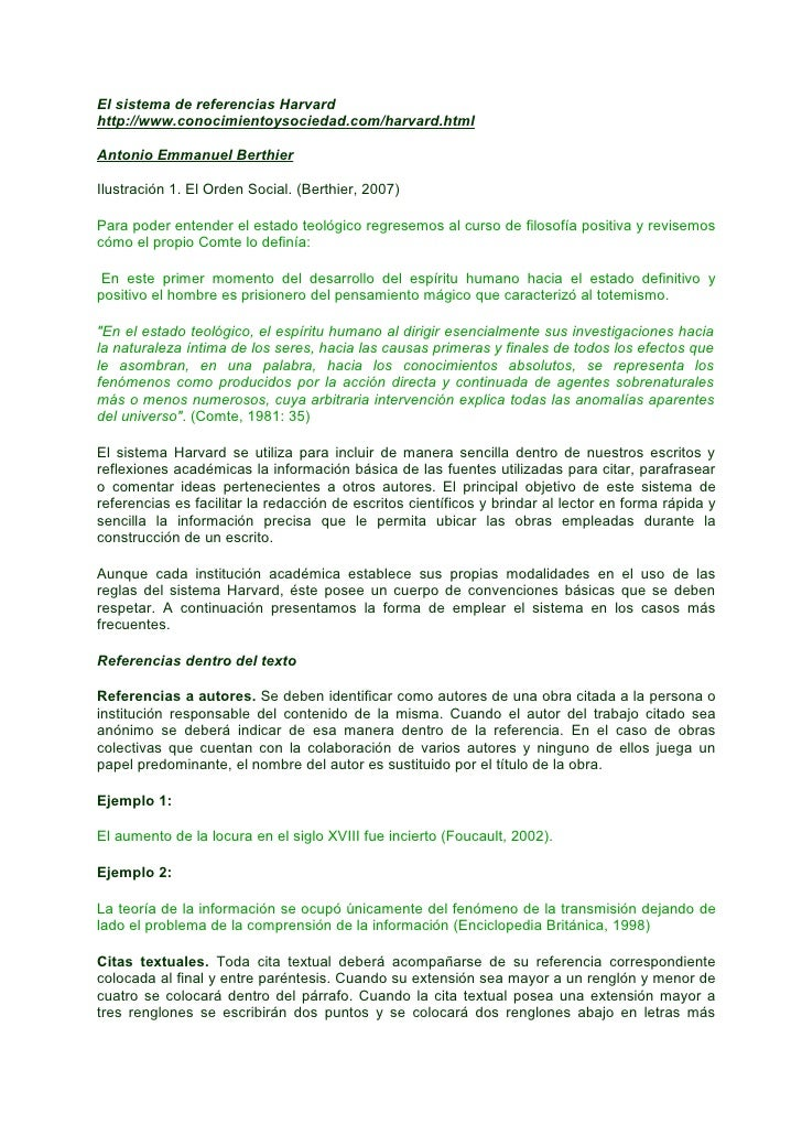 El sistema de referencias Harvard http://www.conocimientoysociedad.com/harvard.html  Antonio Emmanuel Berthier  Ilustració...