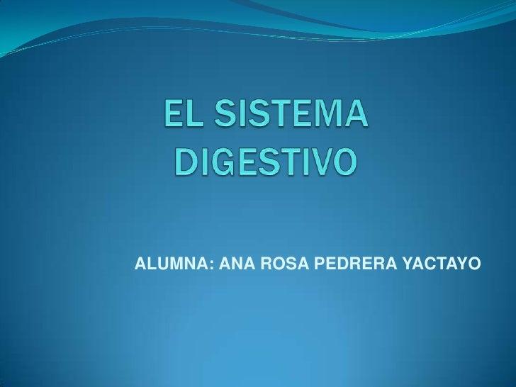 EL SISTEMA DIGESTIVO<br />ALUMNA: ANA ROSA PEDRERA YACTAYO<br />
