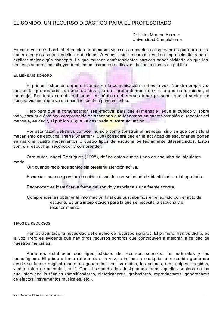 EL SONIDO, UN RECURSO DIDÁCTICO PARA EL PROFESORADO                                                                 Dr.Isi...