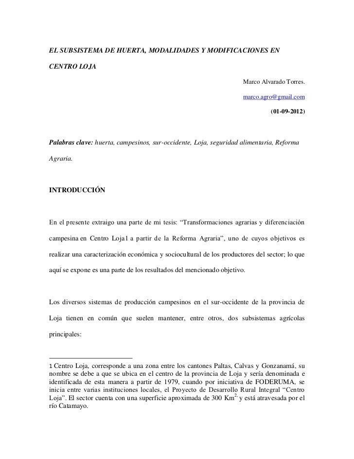 EL SUBSISTEMA DE HUERTA, MODALIDADES Y MODIFICACIONES ENCENTRO LOJA                                                       ...