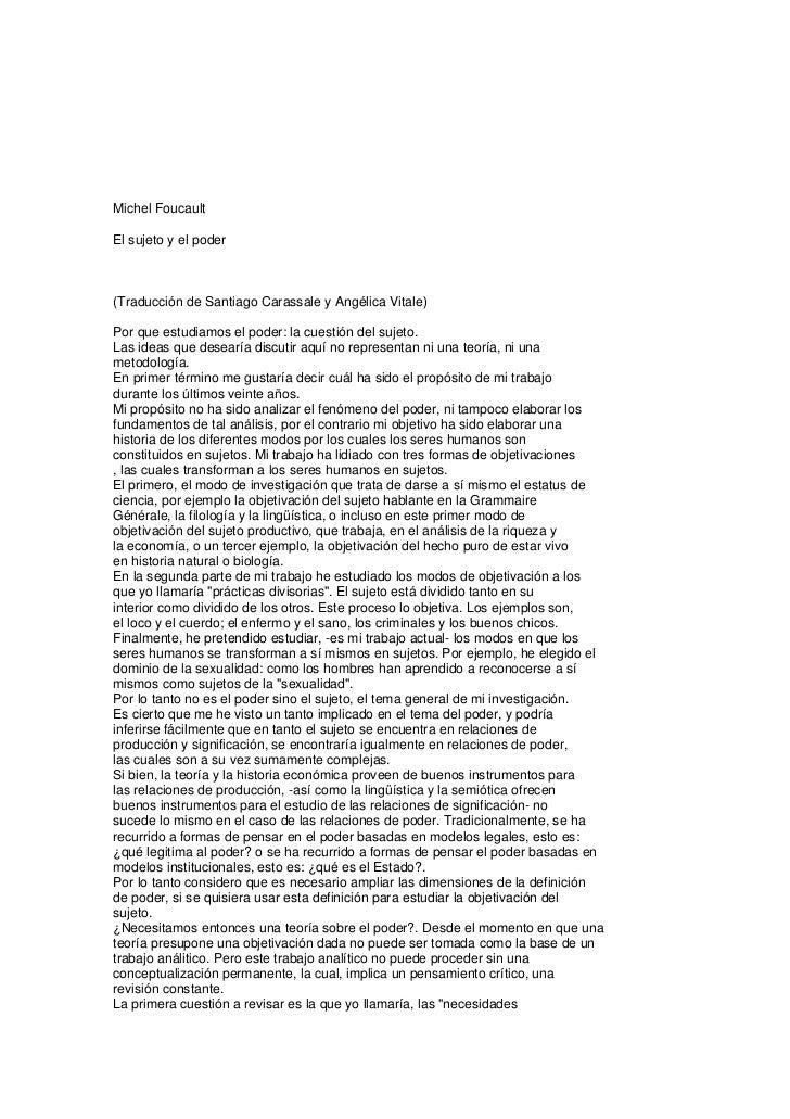 Michel FoucaultEl sujeto y el poder(Traducción de Santiago Carassale y Angélica Vitale)Por que estudiamos el poder: la cue...