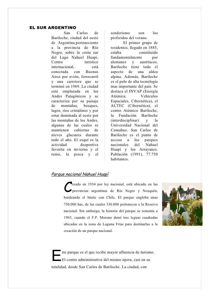 EL SUR ARGENTINO                 San     Carlos      de          senderismo        son      los         Bariloche, ciudad ...