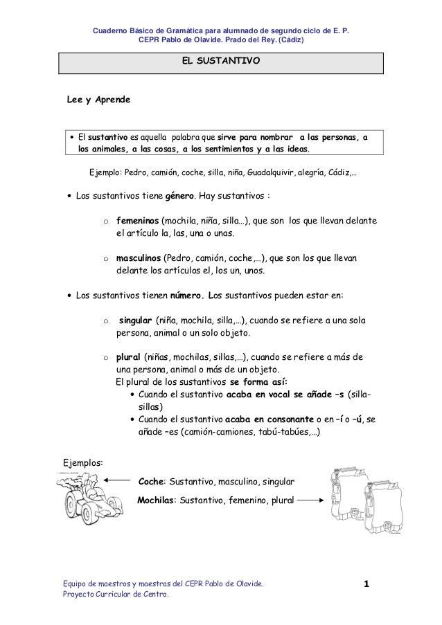Cuaderno Básico de Gramática para alumnado de segundo ciclo de E. P.                   CEPR Pablo de Olavide. Prado del Re...