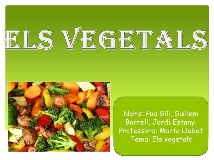 Noms: Pau Gili, Guillem  Borrell, Jordi Estany.Professora: Marta Llobet   Tema: Els vegetals