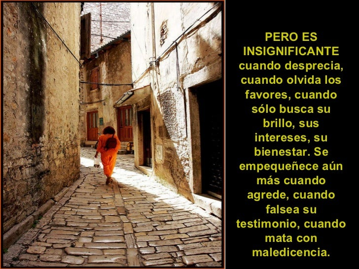 PERO ES INSIGNIFICANTE cuando desprecia, cuando olvida los favores, cuando sólo busca su brillo, sus intereses, su bienest...