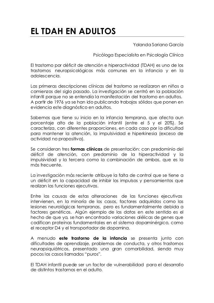 EL TDAH EN ADULTOS                                                 Yolanda Soriano García                              Psi...