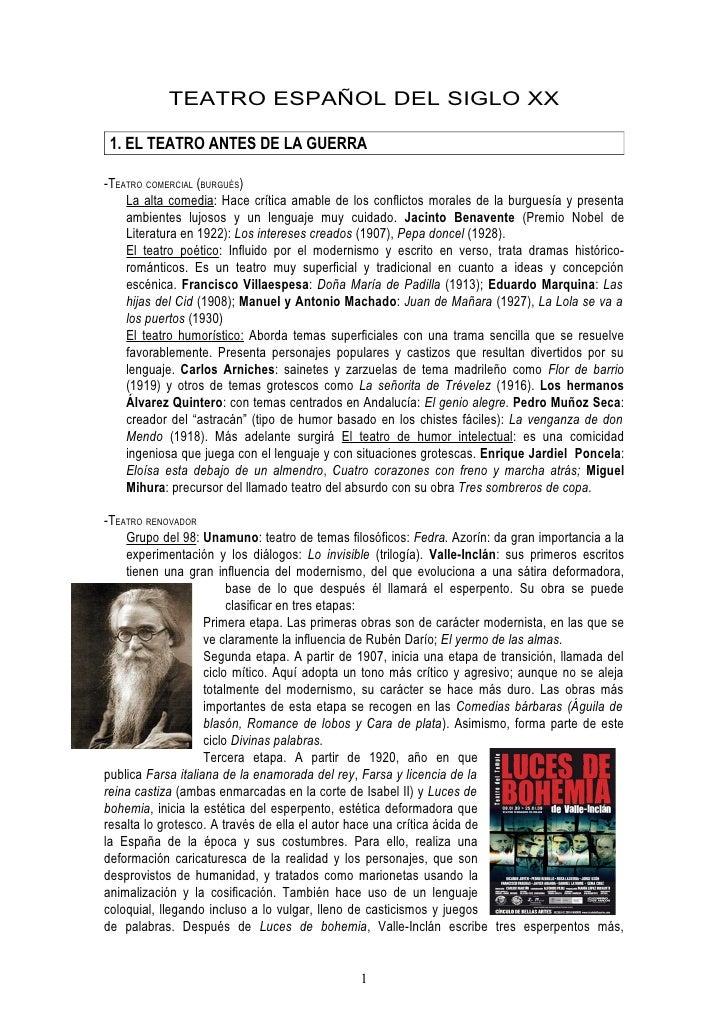 TEATRO ESPAÑOL DEL SIGLO XX 1. EL TEATRO ANTES DE LA GUERRA-TEATRO COMERCIAL (BURGUÉS)    La alta comedia: Hace crítica am...