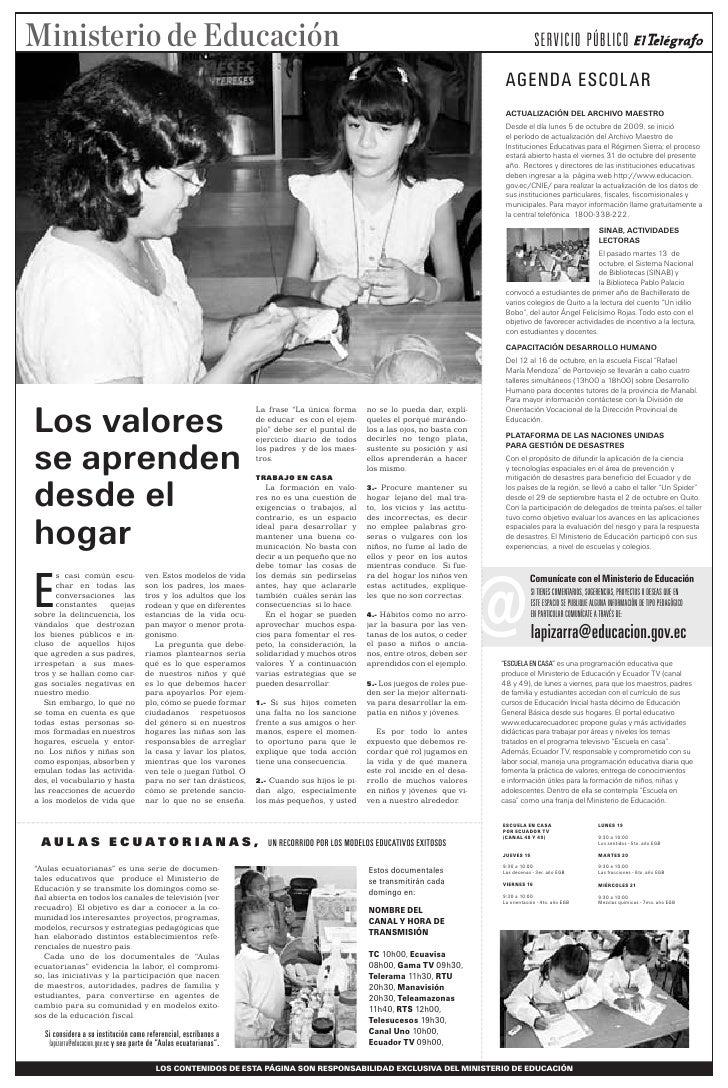Los valores se aprenden desde el hogar - 15/10/2009