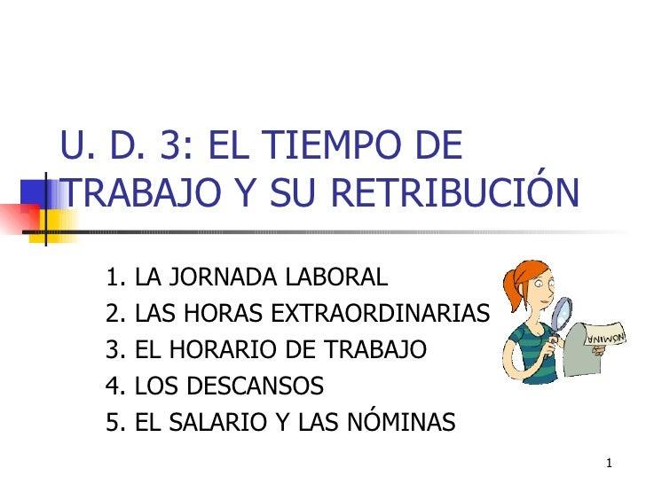 U. D. 3: EL TIEMPO DE TRABAJO Y SU RETRIBUCIÓN 1. LA JORNADA LABORAL 2. LAS HORAS EXTRAORDINARIAS 3. EL HORARIO DE TRABAJO...