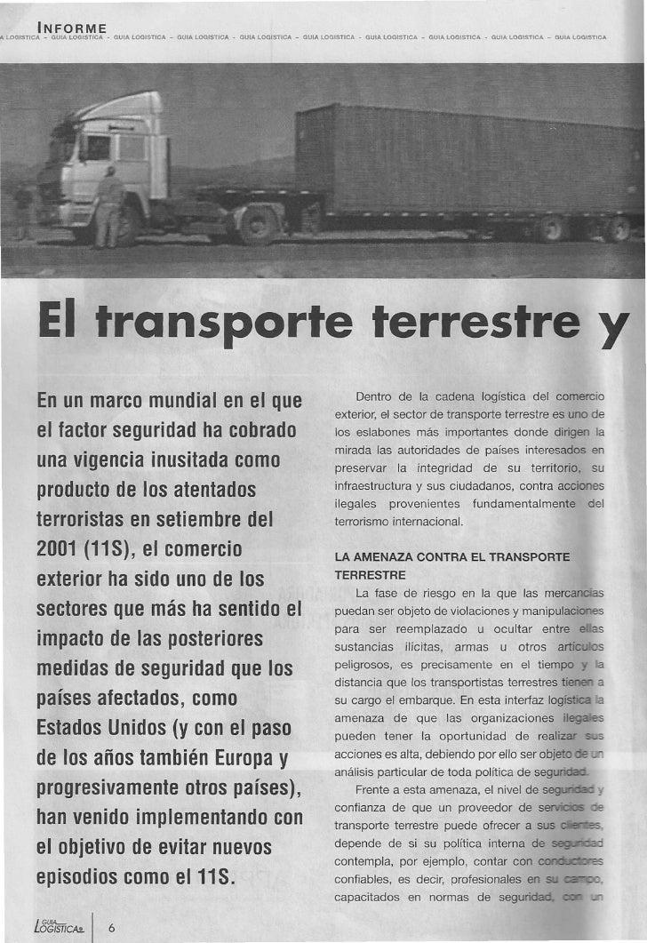 El Transporte Terrestres Y La Seguridad Logística