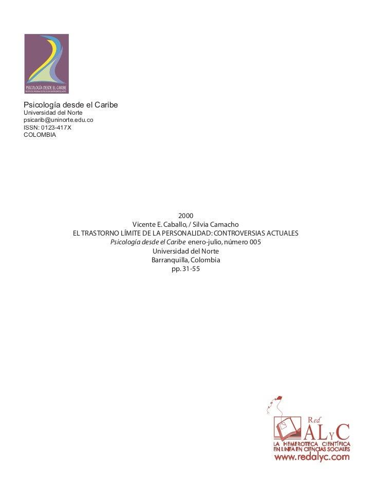 Psicología desde el CaribeUniversidad del Nortepsicarib@uninorte.edu.coISSN: 0123-417XCOLOMBIA                            ...