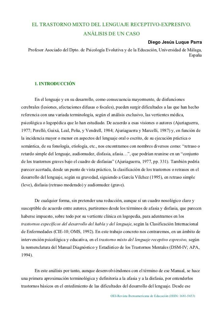 EL TRASTORNO MIXTO DEL LENGUAJE RECEPTIVO-EXPRESIVO.                                    ANÁLISIS DE UN CASO               ...