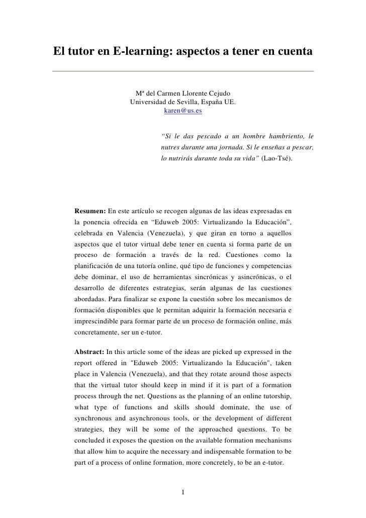 El tutor en E-learning: aspectos a tener en cuenta                          Mª del Carmen Llorente Cejudo                 ...