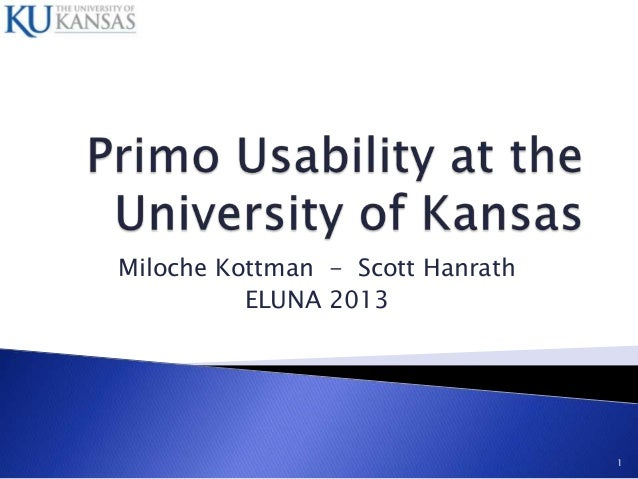 Primo Usability at the University of Kansas