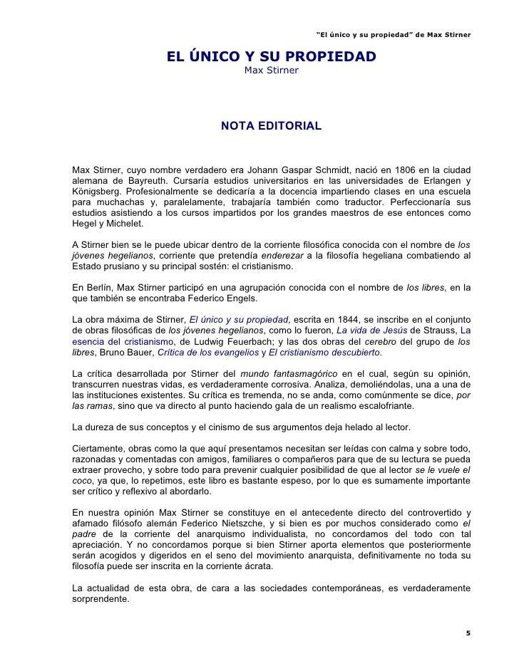"""""""El único y su propiedad"""" de Max Stirner                          EL ÚNICO Y SU PROPIEDAD                                 ..."""