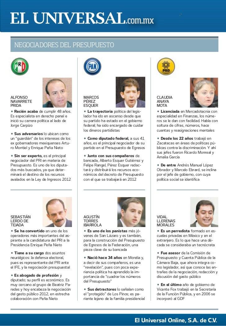 El universal, negociadores del presupuesto 2012