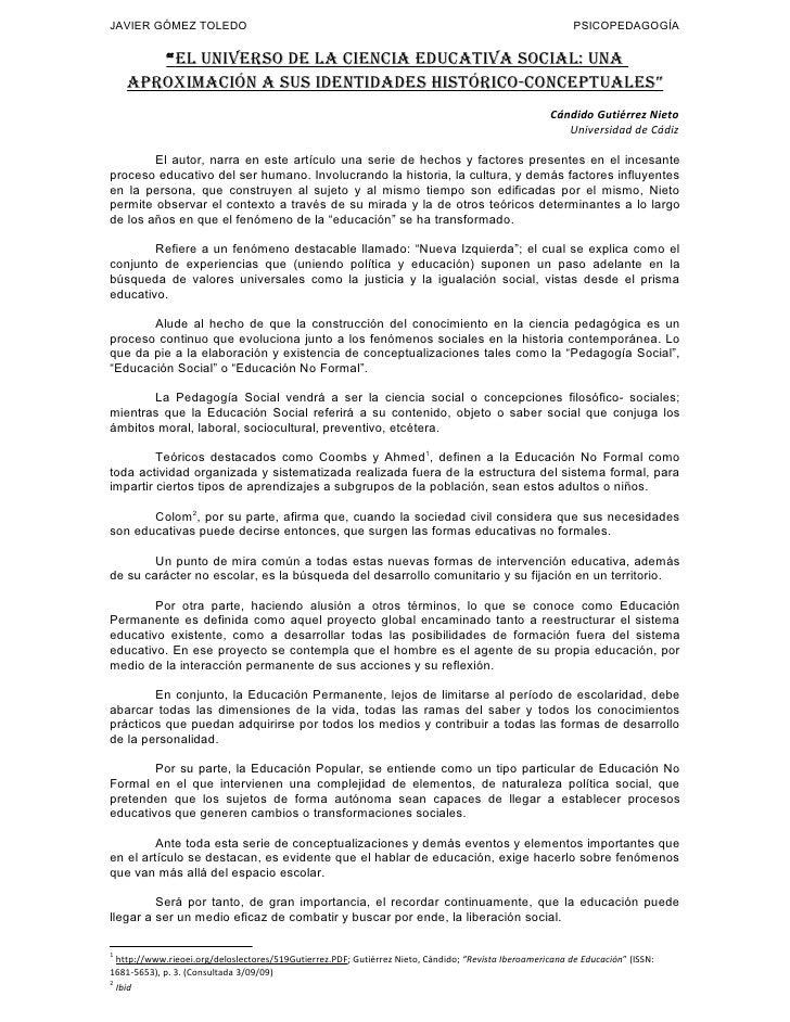 JAVIER GÓMEZ TOLEDO                                                                                        PSICOPEDAGOGÍA ...