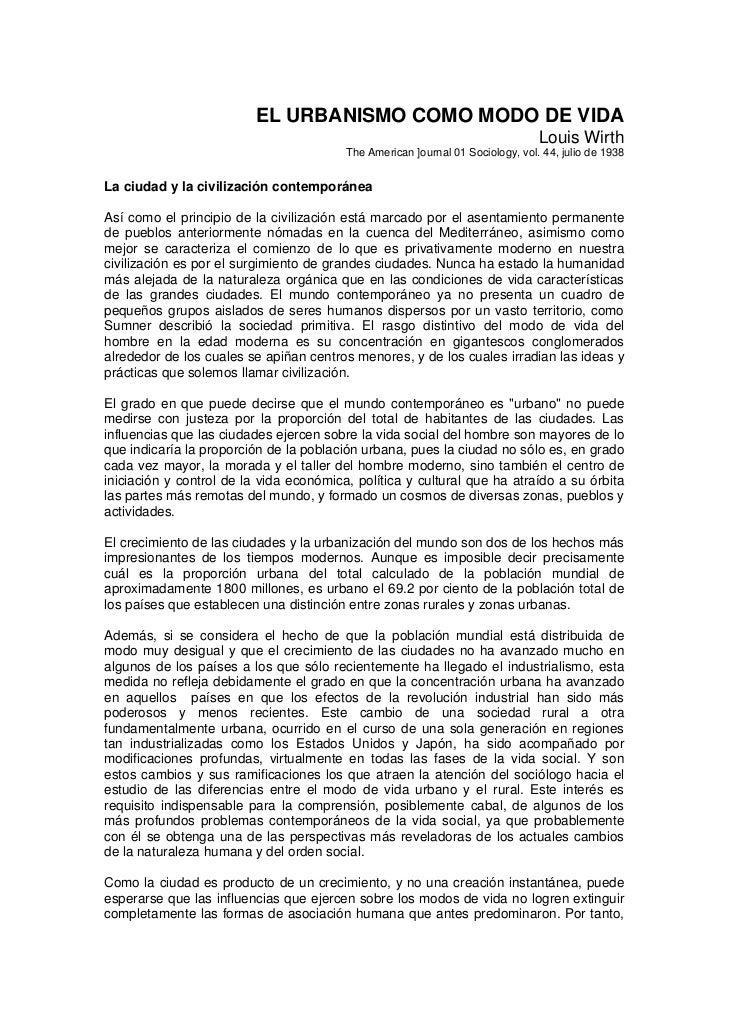 EL URBANISMO COMO MODO DE VIDA                                                                                Louis Wirth ...
