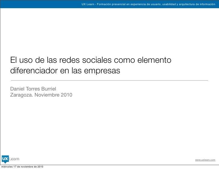 El uso de las redes sociales como elemento diferenciador en las empresas