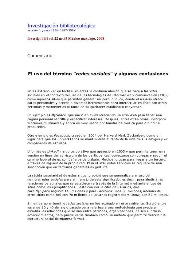 Investigación bibliotecológica versión impresa ISSN 0187-358X Investig. bibl vol.22 no.45 México may./ago. 2008 Comentario...