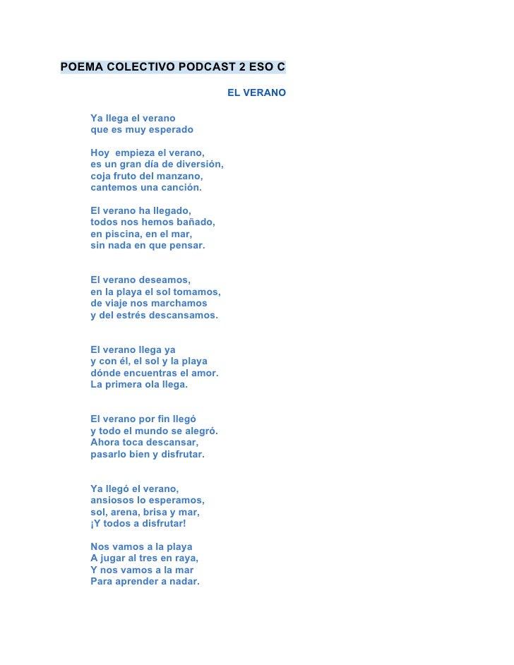 El verano, poema colectivo, 2eso c, 2011 12, literatura, lírica, ud 5, 6