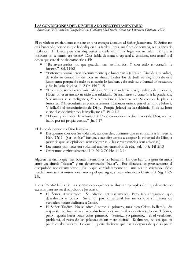 """LAS CONDICIONES DEL DISCIPULADO NEOTESTAMENTARIO Adaptado de """"El Verdadero Discipulado"""", de Guillermo MacDonald, Centros d..."""