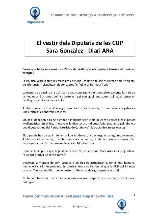 El vestir dels Diputats de les CUP - Sara Gonzàlez - Diari ARA