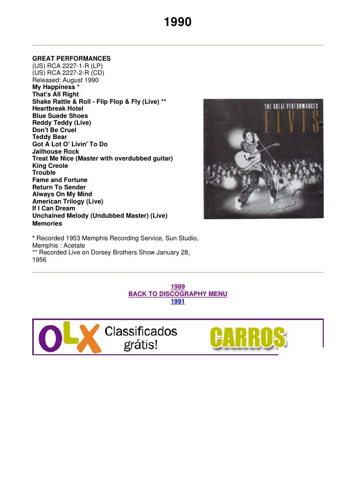1990  GREAT PERFORMANCES (US) RCA 2227-1-R (LP) (US) RCA 2227-2-R (CD) Released: August 1990 My Happiness * That's All Rig...