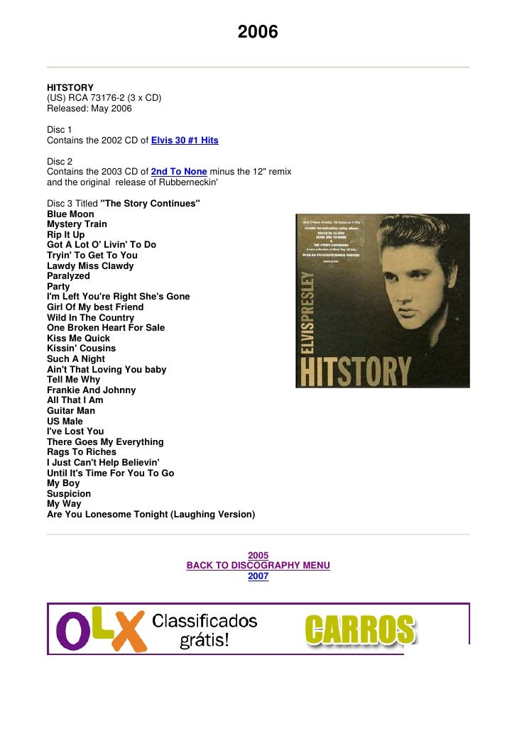 2006  HITSTORY (US) RCA 73176-2 (3 x CD) Released: May 2006  Disc 1 Contains the 2002 CD of Elvis 30 #1 Hits  Disc 2 Conta...