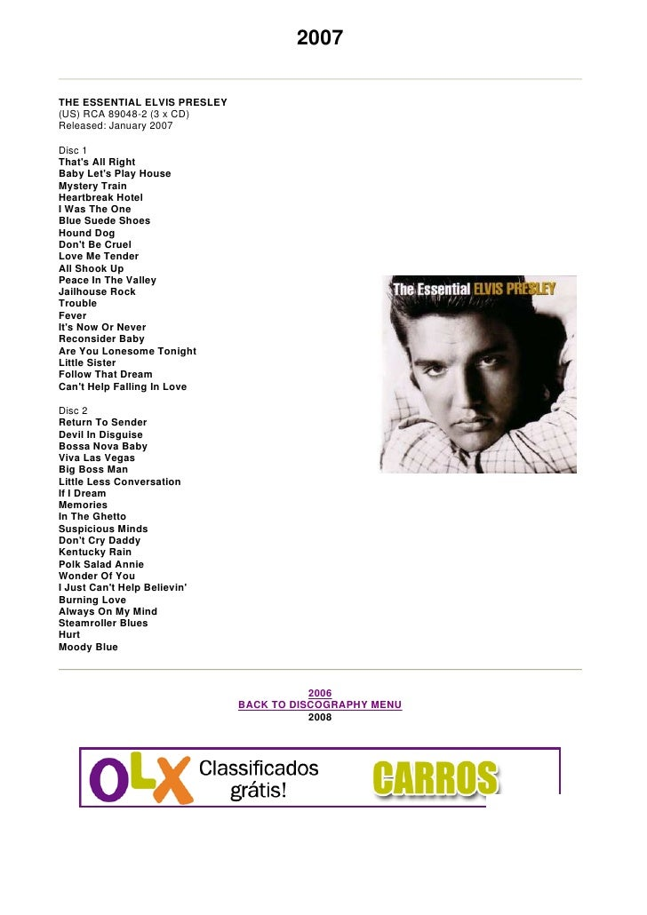 2007  THE ESSENTIAL ELVIS PRESLEY (US) RCA 89048-2 (3 x CD) Released: January 2007  Disc 1 That's All Right Baby Let's Pla...
