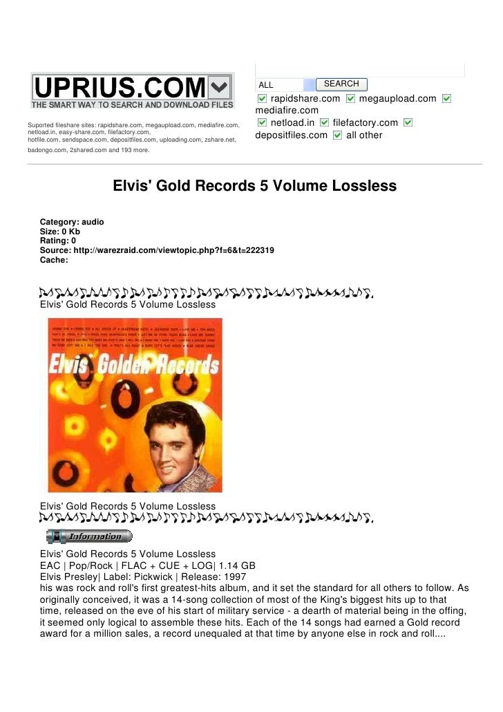 Elvis Gold Records 5 Volume Lossless