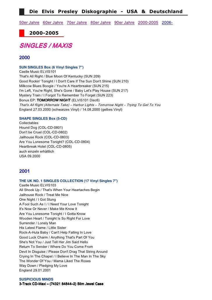 Die Elvis Presley Diskographie - USA & Deutschland  50er Jahre 60er Jahre 70er Jahre 80er Jahre 90er Jahre 2000-...