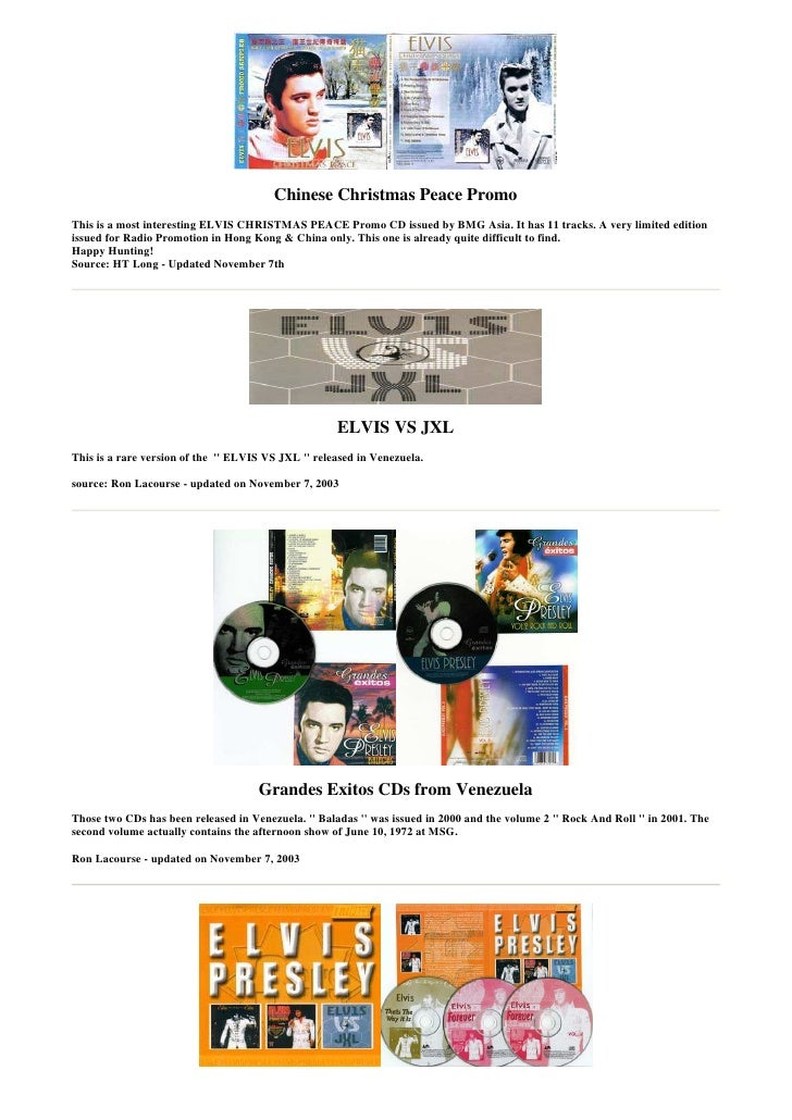 Chinese Christmas Peace Promo This is a most interesting ELVIS CHRISTMAS PEACE Promo CD issued by BMG Asia. It has 11 trac...